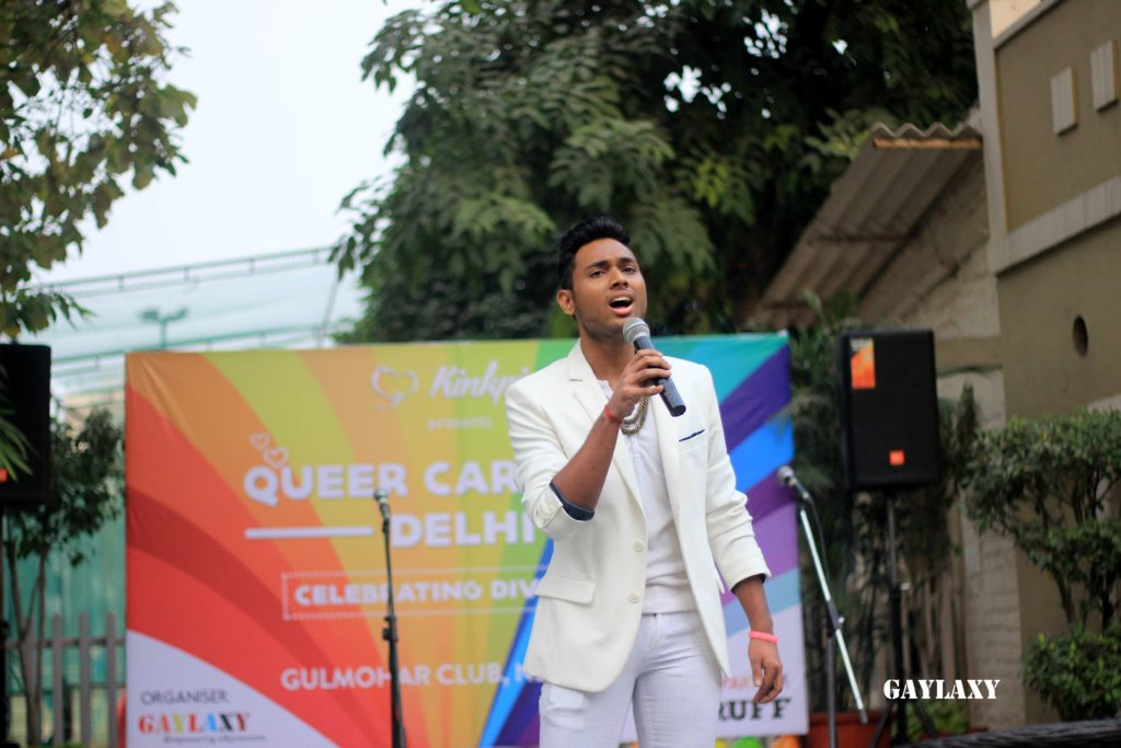 Mr. Gay World India 2016 singing a song