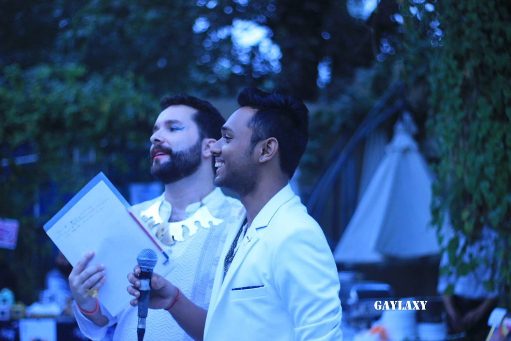 Spciy Tutuboy and Anwesh Sahoo (Mr. Gay World India 2016) - the two hosts of the evening