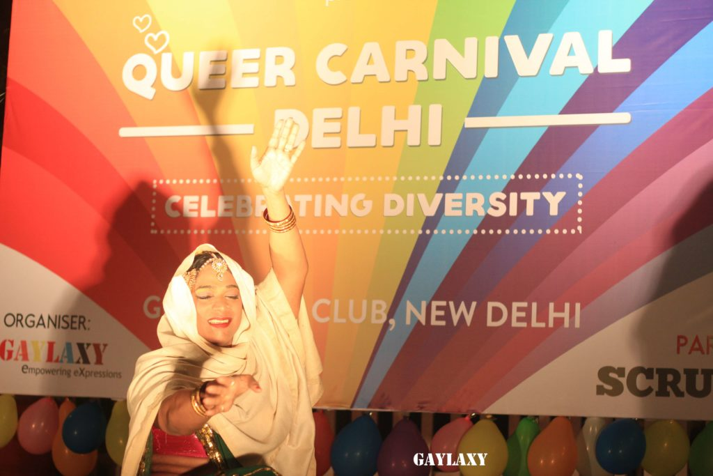 Trans activist Abheena Aher and a founding member of Dancing Queens group performing a dance